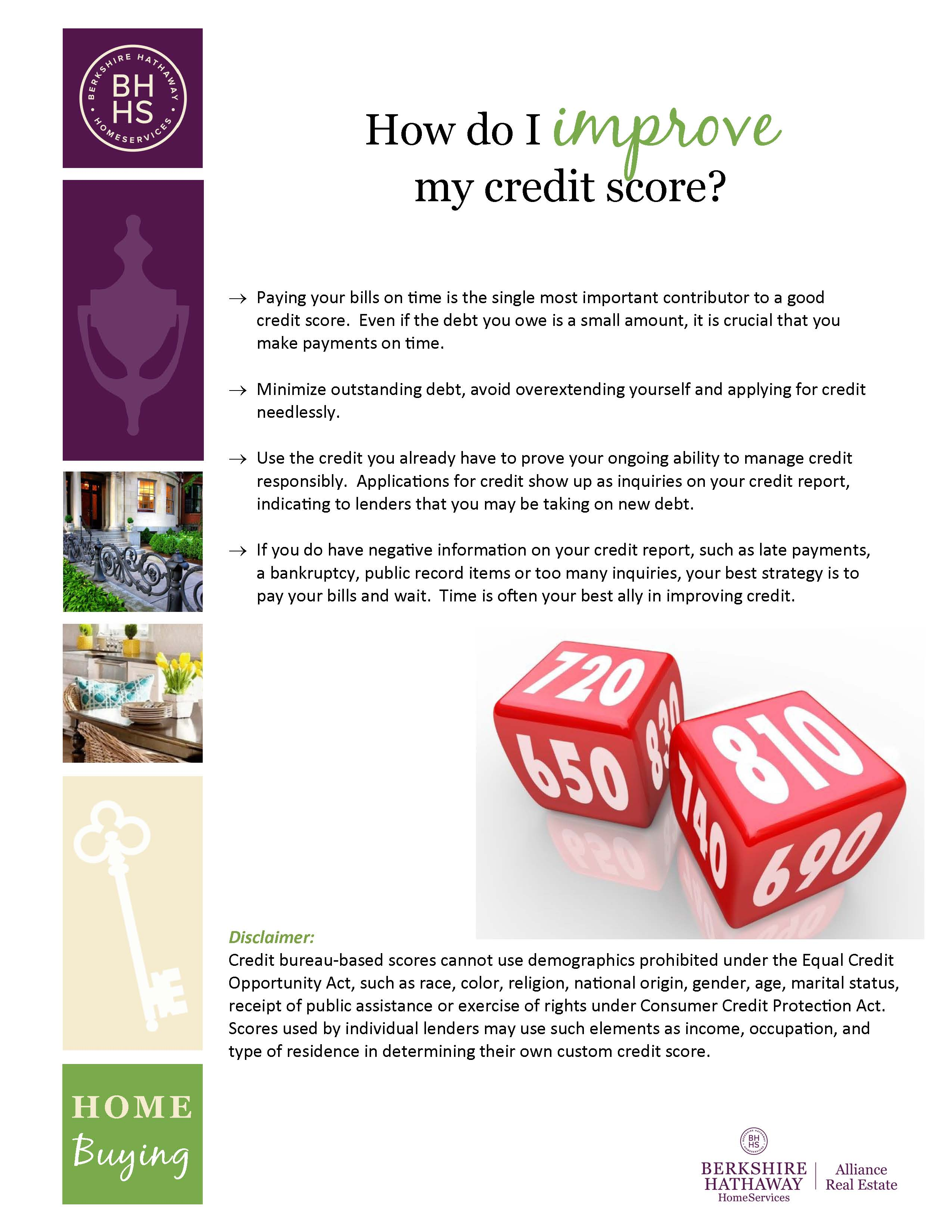 How To Improve Your Credit Score Rene Mooney Bhhs Alliance How To Build  Credit By Paying